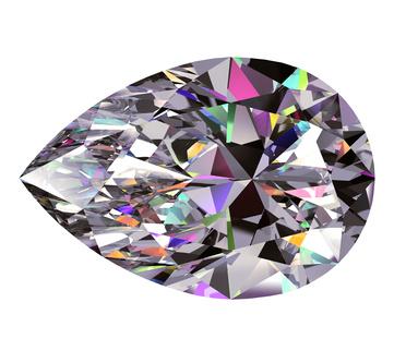 Diamond Pear. 3D Model Over White Background.